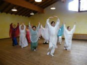Eurythmy. Libertad Aguilar dancing with a group.