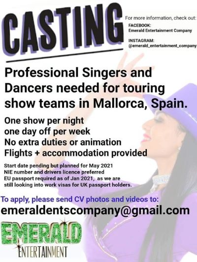 Casting for touring shows in Mallorca, Spain